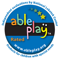 Able Play Rated Badge. Link to Review by Able Play: Toys Can Build Connections Between Kids with Special Needs and Their Peers